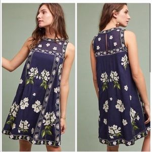 Maeve Anthropologie Embroidered Rosa Swing Dress